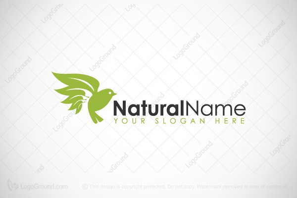 Logo for sale: Green Bird With Leaves Logo