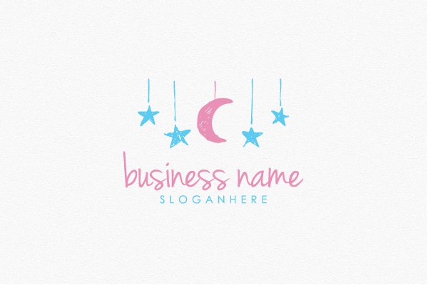 Logo for sale: Lovely Moon And Stars Logo