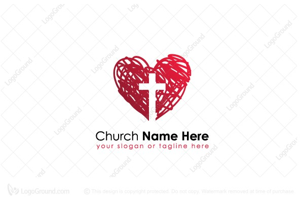 Logo for sale: Red Heart With Cross Logo