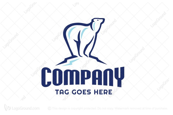 Logo for sale: Blubear Polar Bear Mountain Logo Design Logo