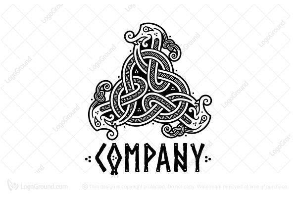 Logo for sale: Three Snakes In The Viking Style Logo