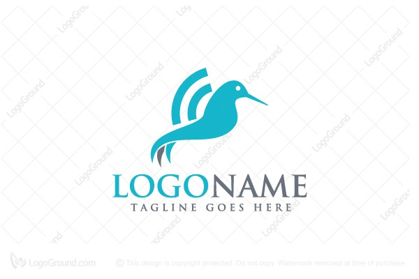Logo for sale: Hummingbird Wifi Logo