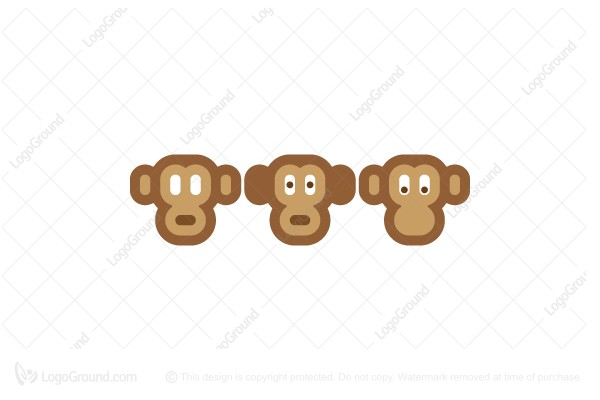 Logo for sale: Three Wise Monkeys Logo