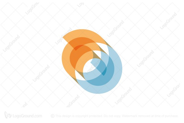 Logo for sale: Spiral Wave Sun Logo