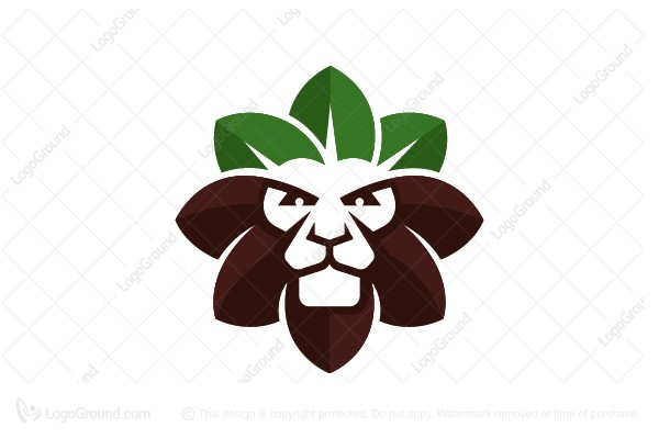 Logo for sale: Lion Leaf Crown Logo