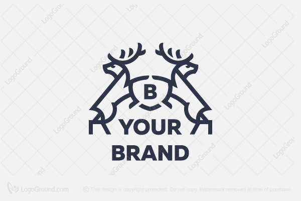 Logo for sale: Coat Of Arms With Deer Logo
