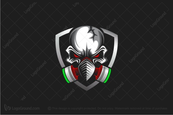 Logo for sale: Skull Gasmask Logo