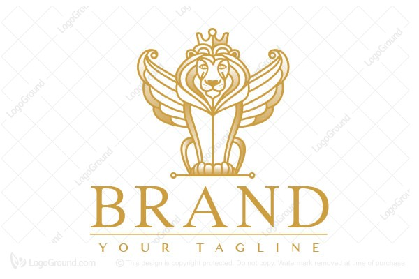 Logo for sale: Golden Royal Winged Lion Logo
