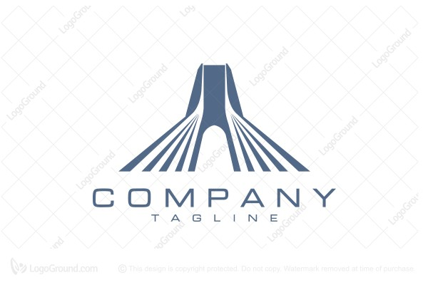 Logo for sale: Cable Stayed Bridge Logo