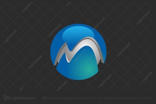 3d globe m logo