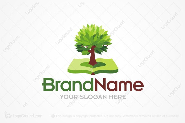 Logo for sale: Tree And Book Education Logo