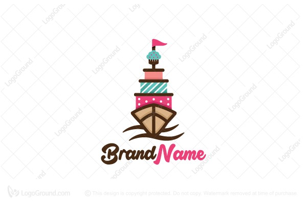 Logo for sale: Sailing Cake Logo