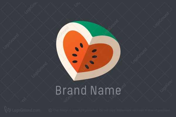 Logo for sale: Watermelon Heart / Juice Bar / Health Food Logo