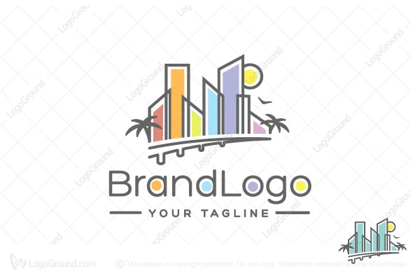 Logo for sale: Colorful Miami Skyline With Bridge & Palm Trees Logo