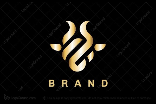 Logo for sale: Gold Abstract Bull Logo
