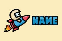 Rocket Driving Mascot Cartoon Logo