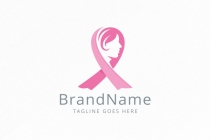 Woman Breast Cancer Awareness Ribbon Logo