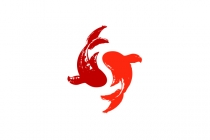 Brushstroke Koi Fish Logo