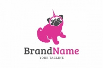 Unicorn Pug Dog Logo