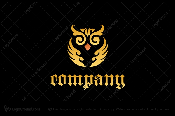 Logo for sale: Classic Owl Floral Ornament Logo