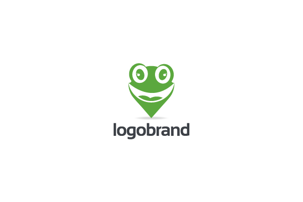 Logo for sale: Green Frog Point Map Pin Logo