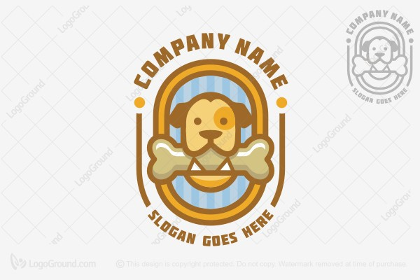 Logo for sale: Dog Logo / Dog And Bone Logo