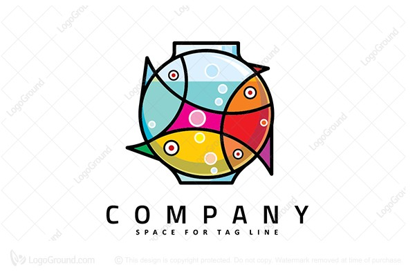 Logo for sale: Fish Art Bowl Logo