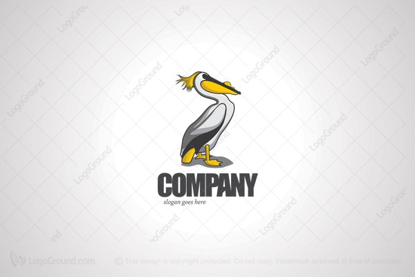 Logo for sale: Pelican With Gold Tail Logo