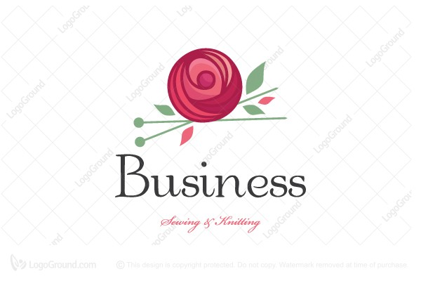 Logo for sale: Wool Rose Sewing And Knitting Logo