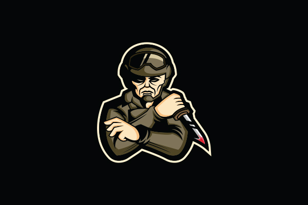 Logo for sale: Soldier Knifing Mascot Logo