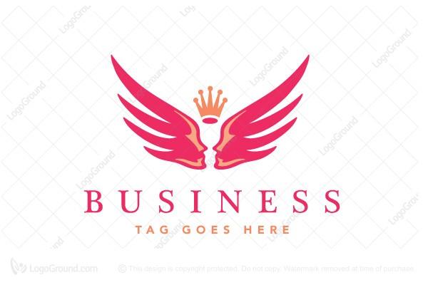 angel wings logo  Angelik Angel Wings Faces Logo