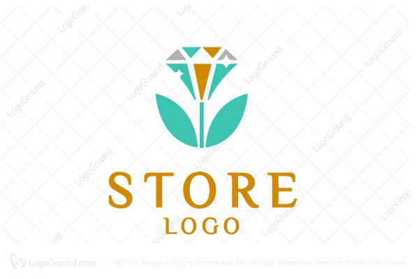 Logo for sale: Diamante Flower Diamond Logo