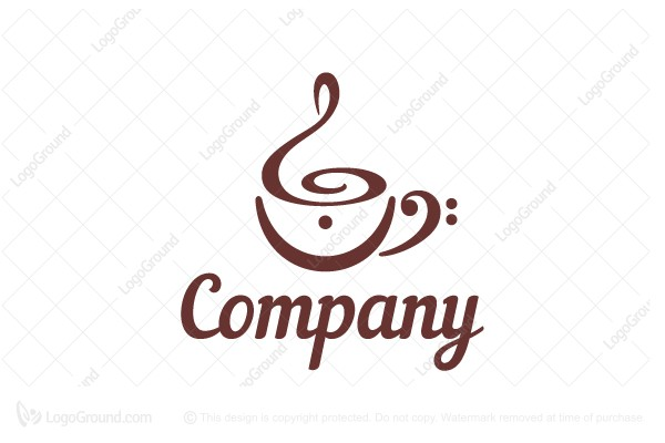 logo for sale musical note symbol cafe logo