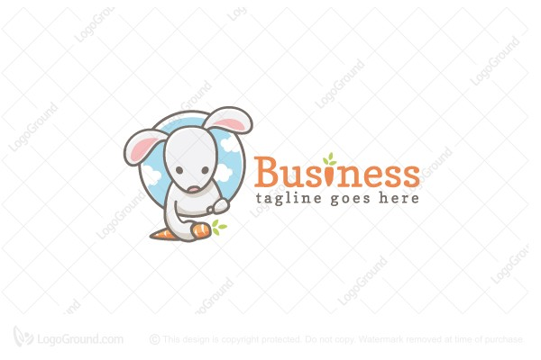 Logo for sale: Rabbit With Carrot Logo