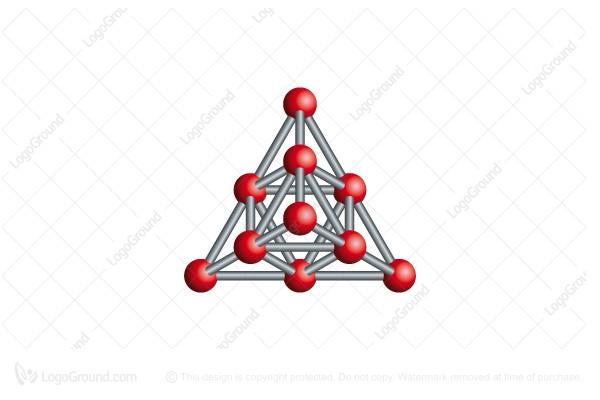 Exclusive Logo 55993, 3d Molecule Pyramid Logo
