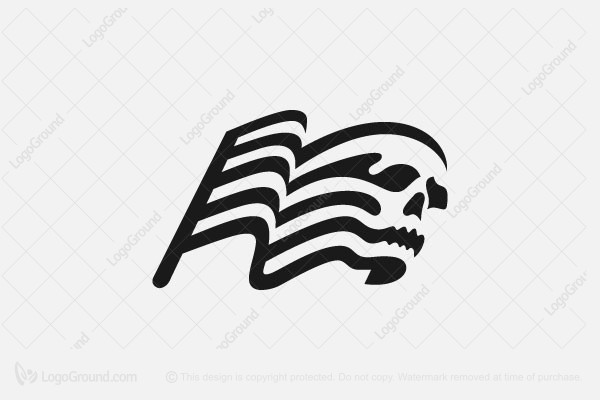Logo for sale: Skull + Flag Logo