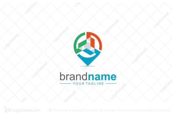 three hand map location logo