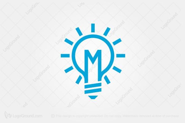 Beautiful Logo For Sale: M Light Bulb Logo