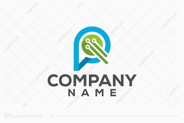 Letter P Technology Logo
