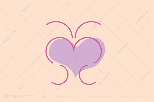 Logo for sale: Butterfly With Heart Logo