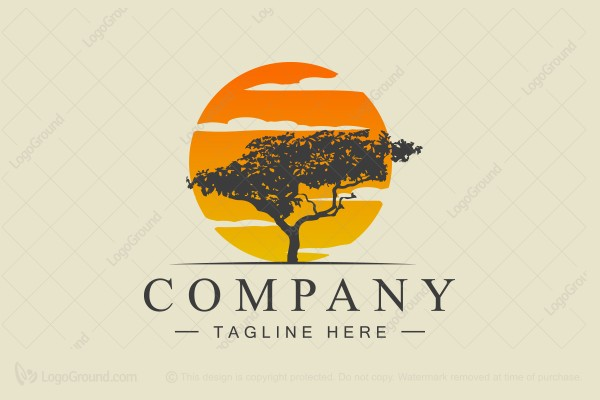 Logo for sale: Tree And Sunset Logo