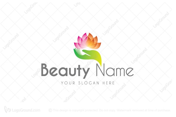 Logo for sale: Beautiful Lotus In Hand Logo