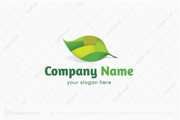 Logo for sale: Green Modern Leaf Logo