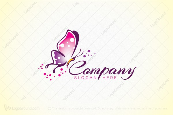 Logo for sale: Beautiful Pink Butterfly Logo