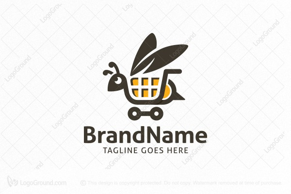 Logo for sale: Bee Shopping Cart Logo
