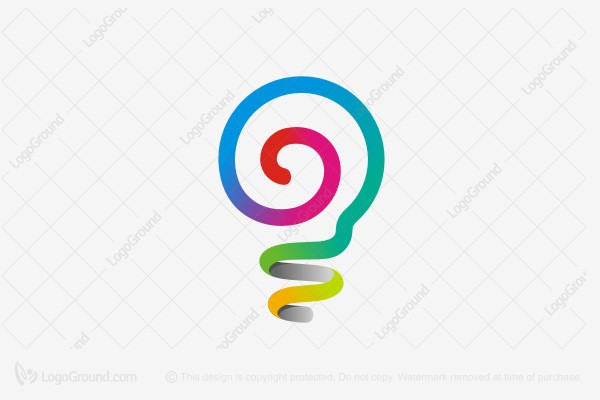 Logo for sale: Spiral Light Bulb Logo
