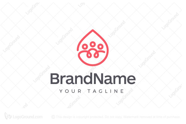 Logo for sale: People In A Drop of Water / Blood Donation Logo