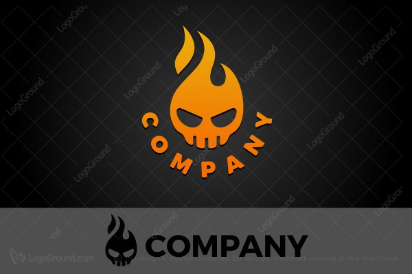 Logo for sale: Flaming Skull Logo
