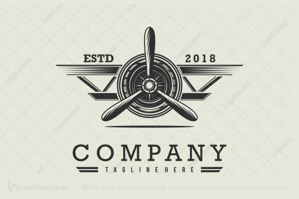 Exclusive Logo 80621, Vintage Airplane Logo