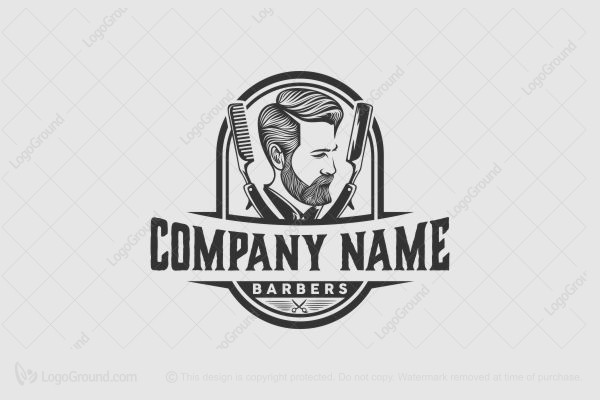 Logo for sale: Head Beard With Badge For Barbershop Logo